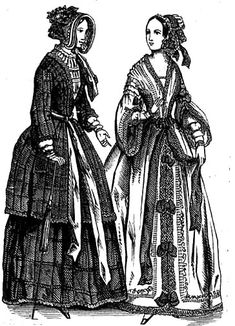 Women's dresses tended to be very poofy.