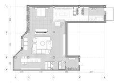 loft apartment design in Odessa, Ukraine Studio Apartment Plan, Apartment Plans, Design Loft, House Design, Cabinet D Architecture, Appartement Design, Duplex, Layout, Decoration Design