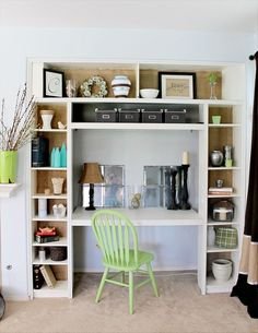 3 Ikea Bookshelves turned Built-in!  Love this idea... she shares how to did it!