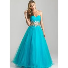 Color: Turquoise. Sweetheart neck, strapless. Gold and silver sequin beading waist. Romantic ball gown with strapless, sweetheart neckline. Sparkling beading accents the natural waistline while a full, tulle skirt finishes the style. Fabric: Tulle