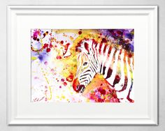 Watercolor Painting of Zebra by Ivars Selickis #watercolor #zebra #painting #wildlifeart #animalpainting #colorful