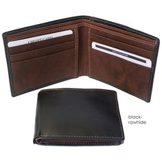 wonderful soft leather affordable wallets for men in black with rawhide, black and brown,  from Museum Outlets