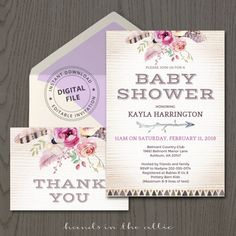 Boho chic baby shower bohemian themed party girl bridal shower invitation template invite tribal floral thank you card printable DIGITAL by HandsInTheAttic