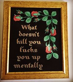 What doesn't kill you fucks you up mentally. Finished and framed cross stitch.