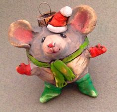 Vintage Style Christmas Mouse Ornament