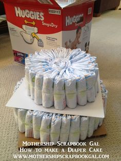 Easy Diaper Cake Instructions | Here is a close up of the top and bottom tier ribbons: