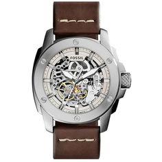 97e8c3849e8 Fossil  Modern Machine  Skeleton Dial Leather Strap Watch