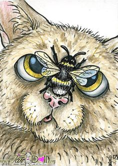 Artist TanDoll ORIGINAL Daily Drawing ACEO Sketch Art Card Tabby Cat Bumble Bee #Cartoon