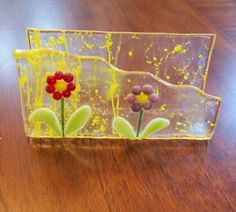Spring flower fused glass business card holder by FusingFrenzy, $18.00 Love the use of the floating edge.
