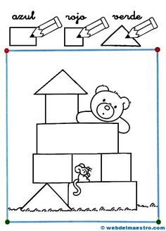 Dibujos con figuras geométricas-1 Senses Activities, Spanish Activities, Infant Activities, Activities For Kids, Kindergarten, Preschool Curriculum, Lessons For Kids, Math Lessons, Dora