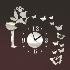 Toprate(TM) Angel Beauty Butterfly and Figure Wall Clock Removable DIY Acrylic 3D Mirror Wall Decal Wall Sticker Home Decoration (Silver) Toprate(TM) http://www.amazon.com/dp/B00HEXTN3G/ref=cm_sw_r_pi_dp_06O0tb13QS41BA01