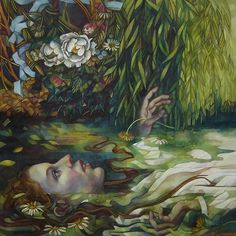Ophelia by elisabetta trevisan tempera and watersoluble pencils on mdf
