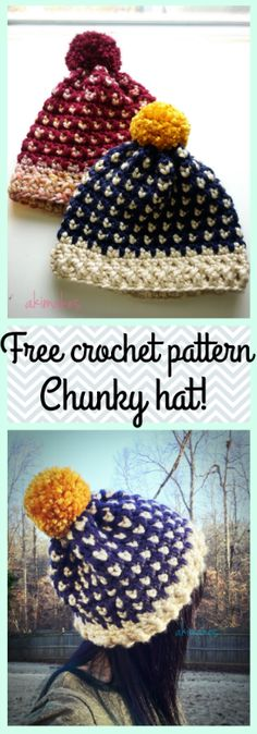 Crochet free pattern-Chunky hat Easy and quick project!