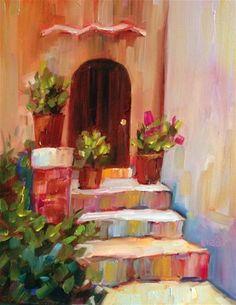 """Daily+Paintworks+-+""""Florence+Door""""+-+Original+Fine+Art+for+Sale+-+©+Libby+Anderson"""