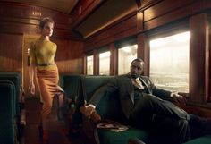 """Natalia Vodianova and music mogul, Sean Diddy Combs, Star in """"Brief Encounter,"""" a whirlwind train station romance based theme, by Annie Leibovitz for Vogue February Natalia Vodianova, Portraits, Portrait Photographers, Famous Photographers, Cinematic Photography, Fashion Photography, Color Photography, Couple Photography, Sean Diddy Combs"""