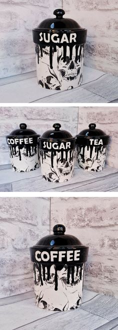 Skull Storage Canisters Tea Coffee Canister Sugar Jars Storage Pots Ceramic - List of the best home decor Jar Storage, Kitchen Storage, Storage Canisters, Kitchen Decor, Goth Home Decor, Diy Home Decor, Gothic Furniture, Skull Furniture, Horror Decor