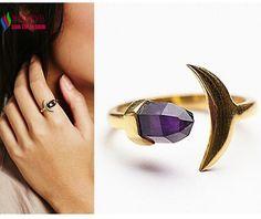 Cool fashion banhado a ouro designer roxo natureza cristal lua pedra anéis de dedo jóias feminino anillos de mujeres em Anéis de Jóias & Acessórios no AliExpress.com | Alibaba Group