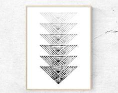 Geometric Ink Print, Geometric Arrow Art, Printable Modern Art, Minimalist Wall Art, Digital Wall Print, Modern Minimalist, arrow print