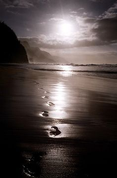 Footprints in the sand. this is so beautiful..like walking with god prayer. One set of footprints ..he is carrying you