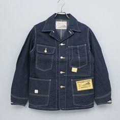 Overall jacket made in sugar Cane SUGAR CANE 11 ounces blue denim work coat men Japan is part of Overalls men - Denim Jacket Men, Denim Jeans Men, Work Jackets, Best Mens Fashion, Vintage Denim, Denim Fashion, Mens Clothing Styles, Look Cool, Blue Denim