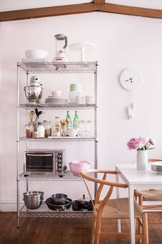 25 Small Kitchen Design Ideas | Storage solution and decor tricks to maximize your space | wire shelving @stylecaster