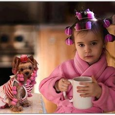 girl and dog in curlers