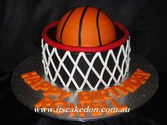Basketball Cake.  Chocolate cake with a milka chocolate ganache.