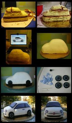 Car cake in pictures Cake Decorating Techniques, Cake Decorating Tutorials, 3d Cakes, Cupcake Cakes, Car Cake Tutorial, Fondant Tutorial, Cake Structure, Cake Shapes, Sculpted Cakes