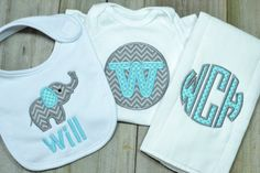 Monogrammed Baby Boy Gift Set Burp Cloth Bib by Jeaninesthreads