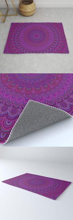 Purple Flower Mandala Rug by David Zydd #MandalaRug #BestRugs #Mandala #Boho #Gift #HomeDecorationIdeas #Floral #Decor (tags: mandala artwork, pattern, meditate, meditation, print, decoration, mandala home decor, home decorating, sacred geometry, abstract, decor, boho decoration, bohemian decor, yoga, bohemian home decoration) Mandala Pattern, Mandala Design, Geometric Mandala, Mandala Artwork, Floral Artwork, Pink Garden, Bohemian Decor, Bohemian Room, Flower Mandala