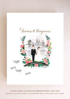 Couple Wedding Illustration Portraits by mintybasildesign on Etsy