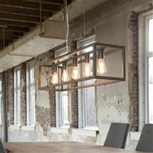 Hanglamp 5L rechthoek 4-kante buis | Zijlstra - Kleinmeubelen & verlichting