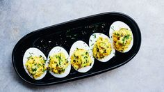 The filling for these eggs is coarsely mashed and studded with crunchy celery and scallion.