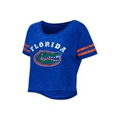 Show your Gator pride with this Colosseum University of Florida cropped tee offering a Gators logo, a burnout design & striped sleeves.  T-Shirt measures appro…