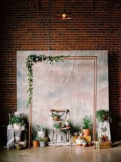 wedding ceremony backdrop with copper