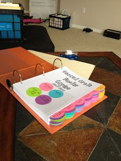 Master Copies Binder:  great idea on how to make color coded labels
