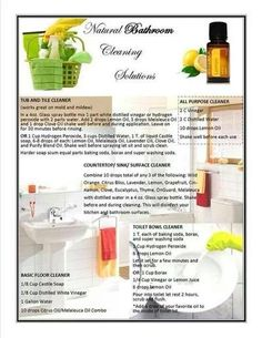 Bathroom Cleaning Solutions - You can purchase oils at http://mydoterra.com/angelhull
