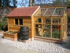 timber frame greenhouse Green house Glass House and Fruit Cage Construction Greenhouse Shed Combo, Backyard Greenhouse, Small Greenhouse, Greenhouse Plans, Backyard Sheds, Backyard Landscaping, Greenhouse Frame, Garden Buildings, Garden Structures