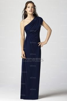 Sheath/Column One Shoulder Floor-length Chiffon Bridesmaid Dress - IZIDRESSES.com at IZIDRESSES.com