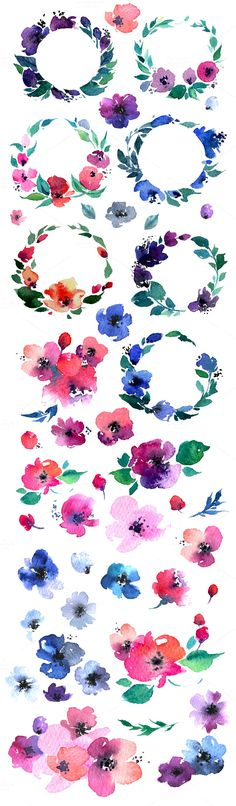 hand painted watercolor flower clip art