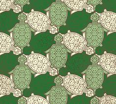 Eine regelmässige Flächenaufteilung aus Schildkröten. Diese interessante Parkettierung besteht aus einer Grundform, die jeweils in 3 Richtungen gespiegelt wurde.