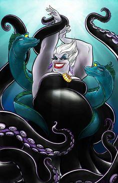 "Disney Villians - Ursula, The Sea Witch - ""The Little Mermaid"" Ursula Disney, Film Disney, Disney Kunst, Disney Little Mermaids, Disney Fan Art, Disney Magic, Disney Movies, The Little Mermaid, Disney Tattoos"