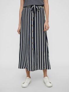 Tmavě modrá pruhovaná midi sukně VERO MODA Sasha | ZOOT.cz Navy Blazers, Shopping Day, Rock, Latest Trends, Ankle, Skirts, How To Wear, Pants, High Waist
