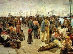A saída dos imigrantes, 1896 Angiolo Tomasi (Itália, 1858-1923) óleo sobre tela Galeria de Arte Moderna, Roma