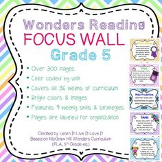 This is a color-coded visual display to accompany Wonders Grade ELA curriculum. 8 weekly skills & strategies are featured. Vocabulary Strategies, Reading Strategies, Reading Skills, 5th Grade Ela, Fifth Grade, Reading Focus Walls, Grammar Skills, Professional Goals, Essential Questions