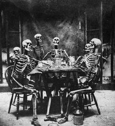 skeletons, party, black and white, dark, cuban cigars, drinks, table, posing, old school