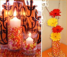 Candy corn filled clear vase with candle