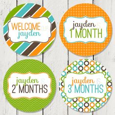 Personalized Monthly Milestone Stickers for by happyhoursprints, $10.99