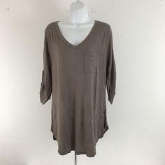 c942197da8b Plus size Cleo Brown V Neck Roll Sleeve Pocket T Shirt Size 1X 2X NEW Rayon