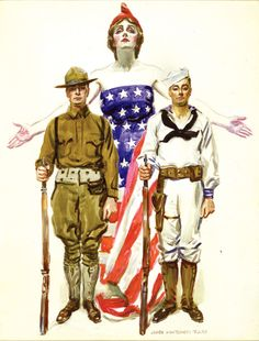 Lady Liberty, a Doughboy, and a Sailor by James Montgomery Flagg, WWI illustration of Don Delillo, Patriotic Images, American Freedom, American Flag, Propaganda Art, American Illustration, Norman Rockwell, National Museum, Up Girl